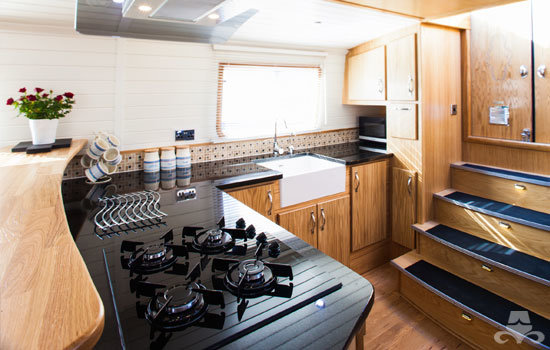 Fully fitted widebeam canal boat completed to our specification - galley 03