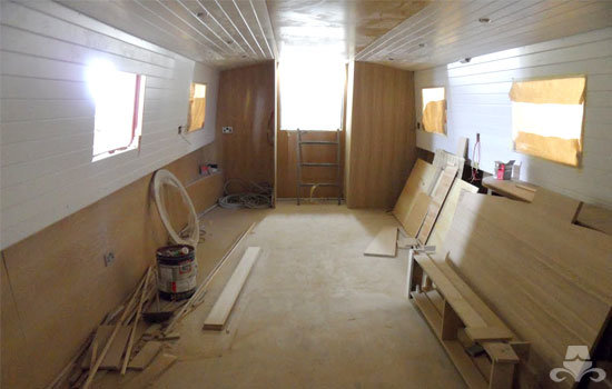 Fit out of the galley & saloon on a new fully fitted widebeam canal boat