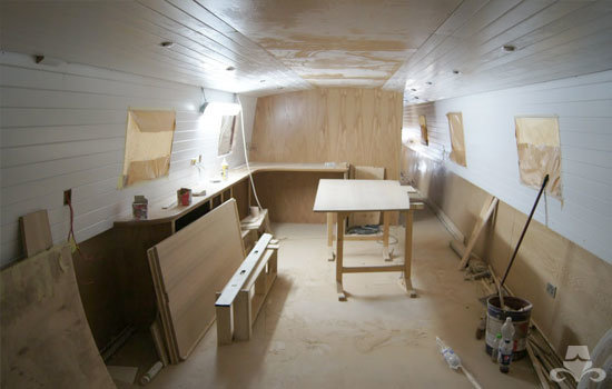 Fit out of the galley & saloon on a new fully fitted widebeam canal boat 05
