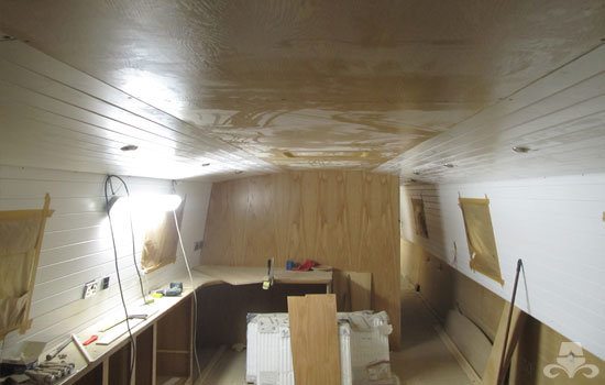 Fit out of the galley & saloon on a new fully fitted widebeam canal boat 15