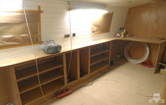 Fit out of the galley & saloon on a new fully fitted widebeam canal boat 16