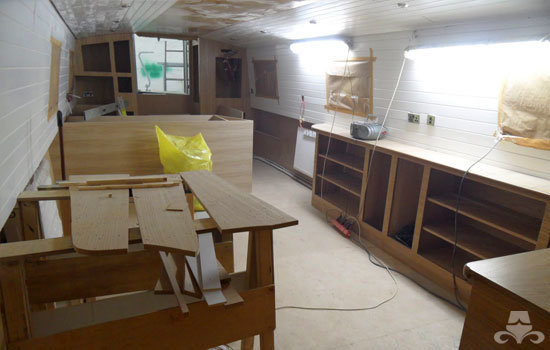 Fit out of the galley & saloon on a new fully fitted widebeam canal boat 19