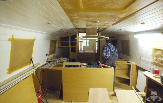 Fit out of the galley & saloon on a new fully fitted widebeam canal boat 22