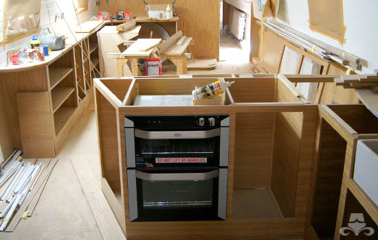 Fit out of the galley & saloon on a new fully fitted widebeam canal boat 25