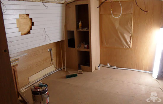 Master bedroom fit out on a new fully fitted widebeam canal boat