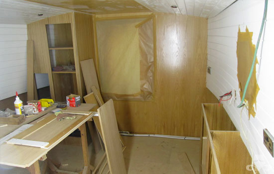 Master bedroom fit out on a new fully fitted widebeam canal boat 09