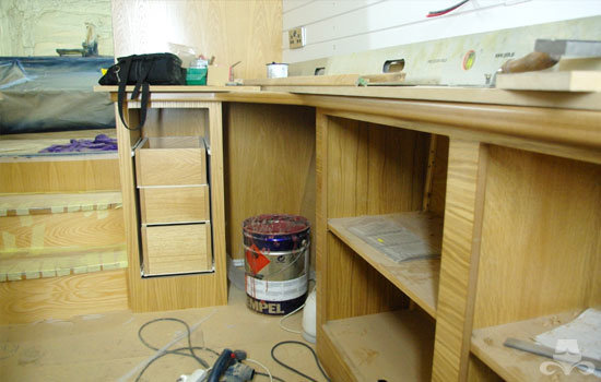 Master bedroom fit out on a new fully fitted widebeam canal boat 11