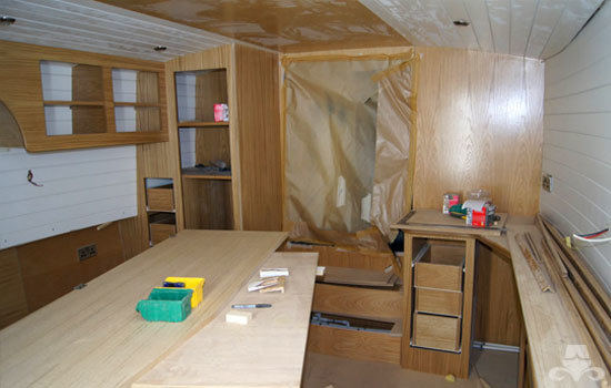 Master bedroom fit out on a new fully fitted widebeam canal boat 12