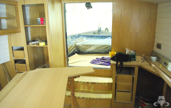 Master bedroom fit out on a new fully fitted widebeam canal boat 13