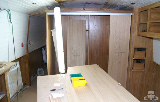 Master bedroom fit out on a new fully fitted widebeam canal boat 15