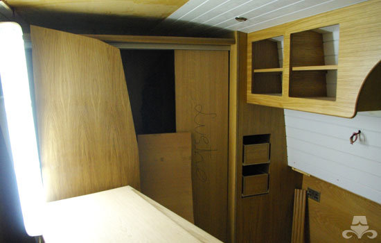 Master bedroom fit out on a new fully fitted widebeam canal boat 16