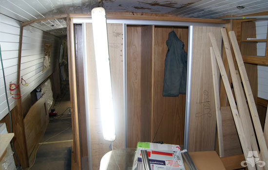 Master bedroom fit out on a new fully fitted widebeam canal boat 17