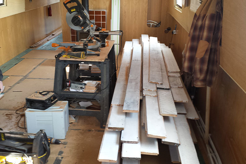 Narrowboat & Widebeam White Washed Reclaimed Timber