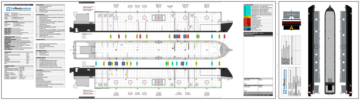 Detailed plans for a 57ft sailaway canal boat with semi cruiser stern