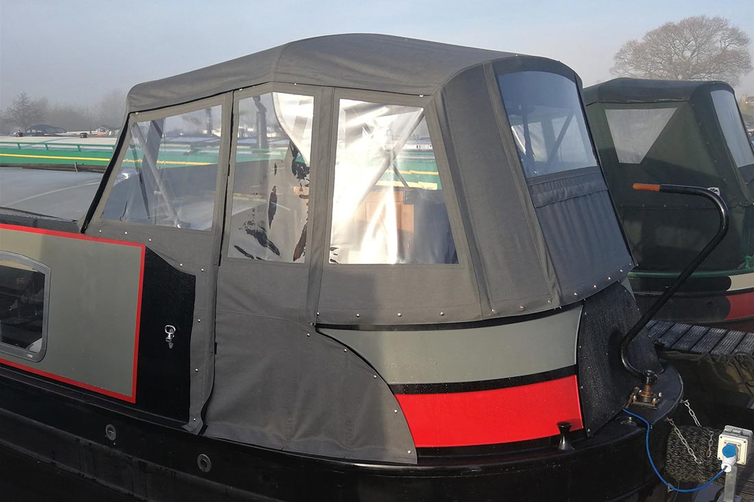 Pram cover on a widebeam canal boat