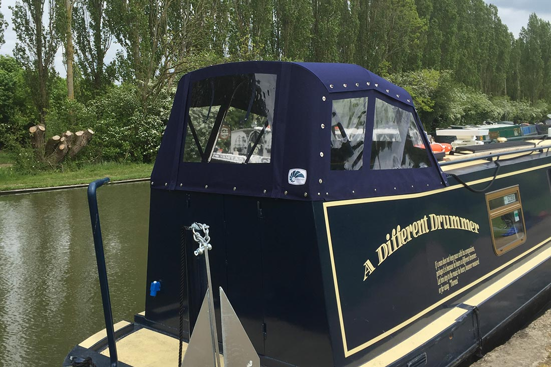 Semi-trad hood on a narrowboat